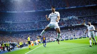 Marco Asensio celebra el gol que abrió el marcado de la vuelta de la...