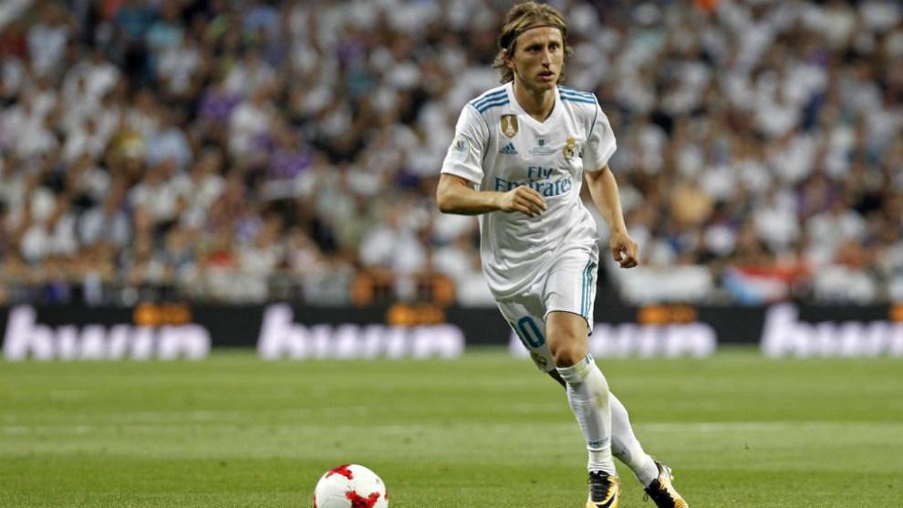 Modric, durante el partido de Supercopa