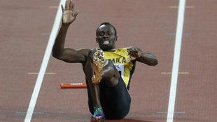 Usain Bolt en el momento de su lesión.