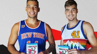 Los hermanos Hernangómez posan con el juego NBA 2k18.