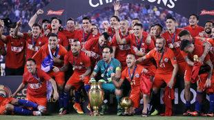 Festejo de Chile por el título de la Copa América Centenario