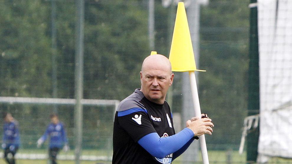 Pepe Mel en un entrenamiento del Deportivo.