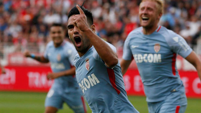 Falcao celebra un gol con el Mónaco.
