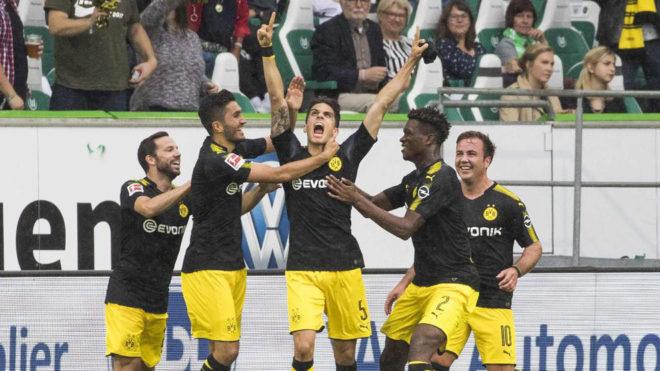 Bartra celebra su gol al Wolfsburgo.