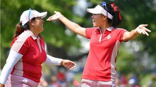 Lizette Salas y Danielle Kang en la Copa Solheim.