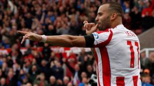 Jes� celebra su gol al Arsenal.