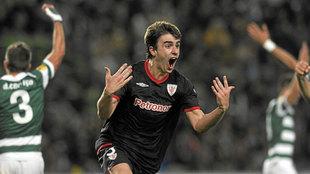 Aurtenetxe (25) celebrando el gol en las semifinales de la Europa...