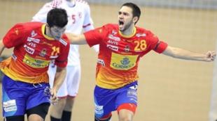 Ian Tarrafeta celebra un gol con los 'Hispanos Juveniles'