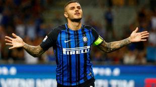 Icardi celebra uno de sus goles al Inter.
