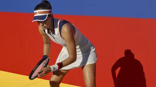 Garbiñe, con el modelo del US Open