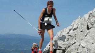 Laura Orgué, en el Kilómetro Vertical de Zegama de mayo de 2017.