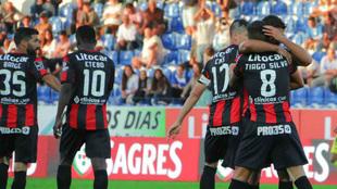 Los jugadores del Feirense, celebrando un gol en la Liga NOS.