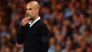 Guardiola, durante el choque ante el Everton