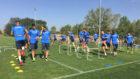 Jugadores del Leganés durante el entrenamiento matinal