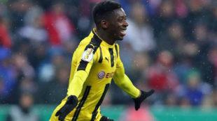 Demb�l�, durante un partido con el Dortmund