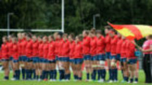 Las 'Leonas' durante el himno nacional frente a Italia
