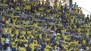 Aficionados del Cádiz durante el encuentro ante el Córdoba.