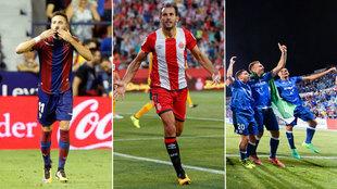 Morales y Stuani celebran los goles de la primera jornada mientras que...