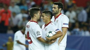 Ben Yedder celebra un gol con el Sevilla