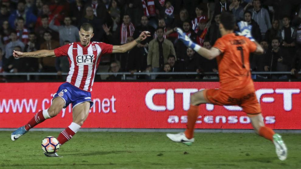 Samuele Longo, durante un partido con el Girona