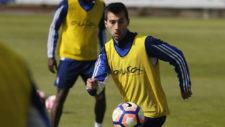 Manu Lanzarote en un entrenamiento con el Real Zaragoza.