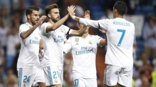 Mayoral celebra su gol con Cristiano.