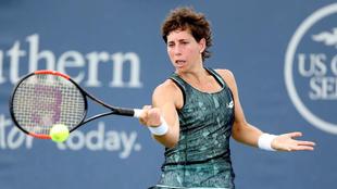 Carla Su�rez (28), durante su partido frente a la rusa Anastasia...