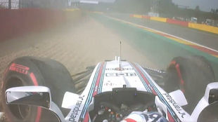 El Williams de Felipe Massa, tras el accidente de la FP1 en Spa
