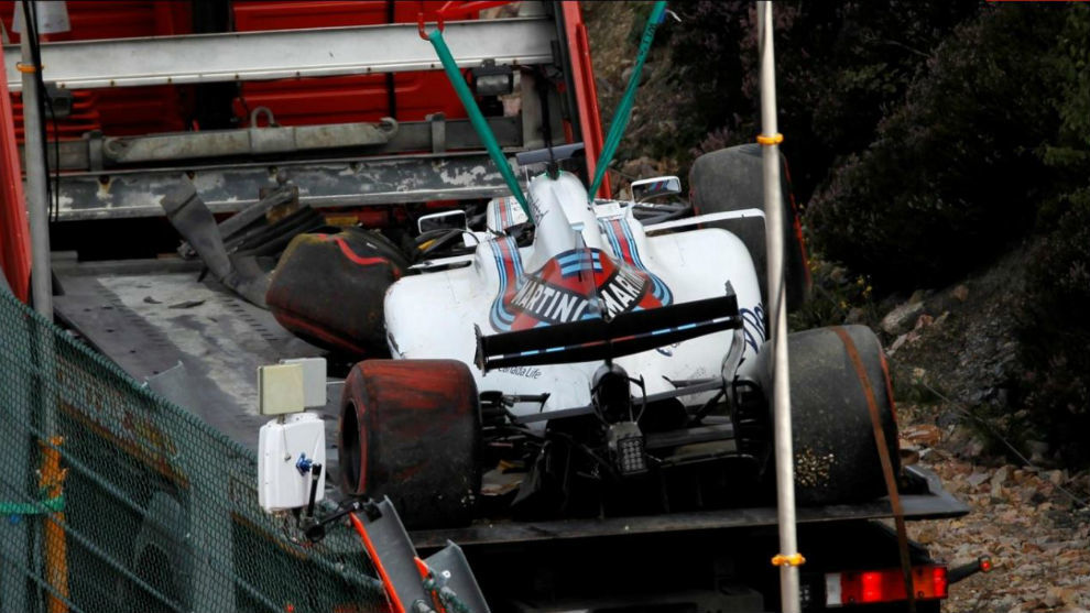 El Williams de Felipe Massa tras el accidente