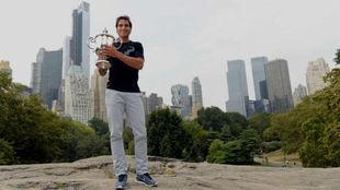 Nadal, con el trofeo del US Open en Central Park