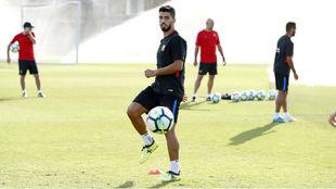 Luis Suárez, durante el entrenamiento de este viernes