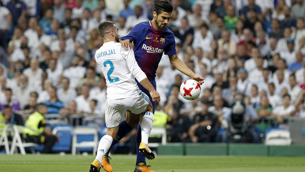 André Gomes durante la pasada Supercopa de España ante el Real...