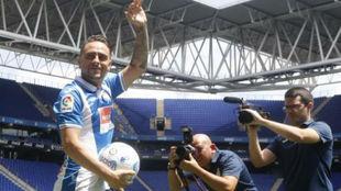 Sergio Garc�a, el d�a de su presentaci�n con el Espanyol este...