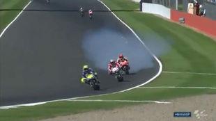 Marc M�rquez, en el momento de romperse el motor de su Honda