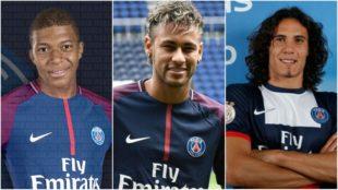 Mbapp�, Neymar y Cavani, el temible tridente del PSG.