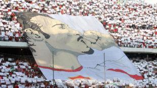 Tifo de Antonio Puerta en el S�nchez-Pizju�n.