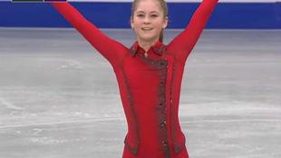 Julia Lipnitskaya en la actuación que le dio el oro en el Campeonato...