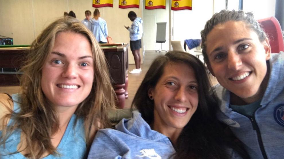 Irene Paredes, Jenni Hermoso y Vero Boquete en pretemporada.
