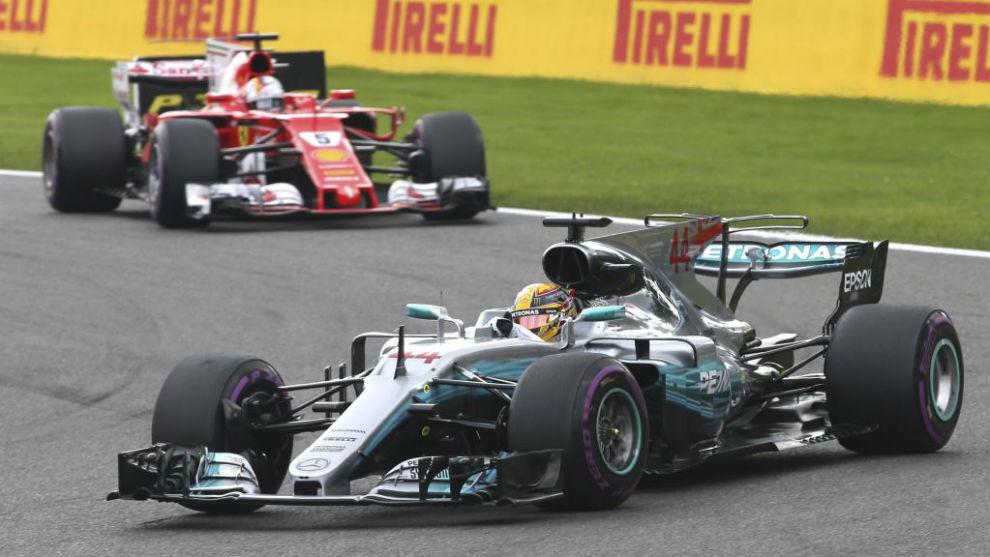 Hamilton y vettel en el GP de B�lgica