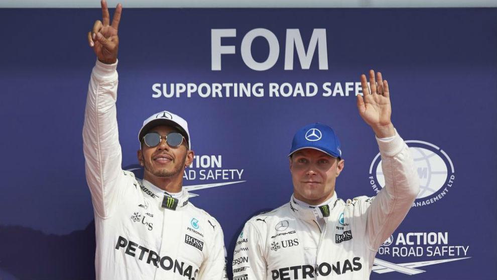 Hamilton y Bottas en Spa Francorchamps