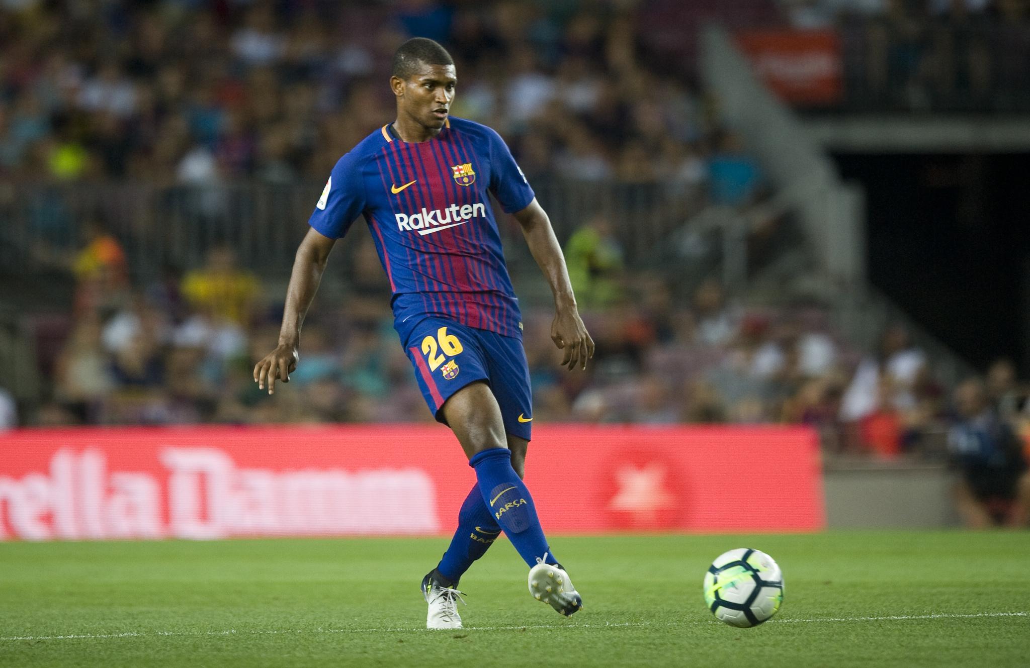 Marlon, durante su último partido con el Barcelona, en el Trofeo Joan...