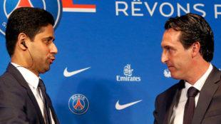 Nasser Al-Khela�fi y Unai Emery, en la presentaci�n del t�cnico con...