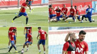 Villa, en su primer entrenamiento con la selecci�n tras su regreso
