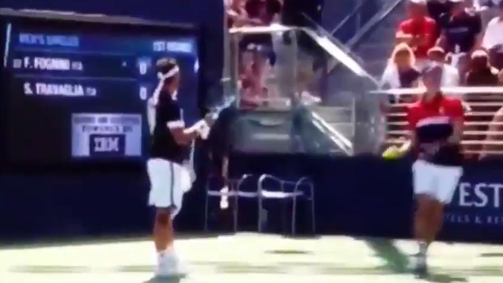 Fognini insultando gravemente a una juez de silla durante el US Open