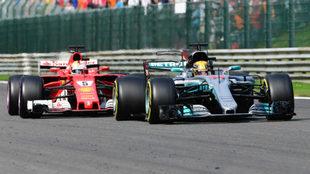 Hamilton y Vettel, en el GP de B�lgica.