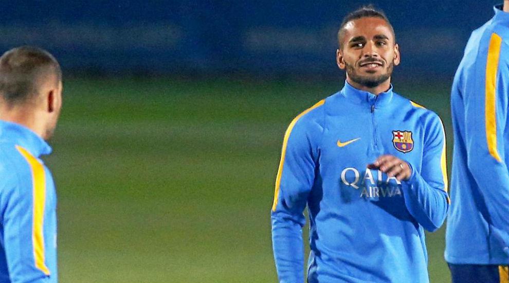 Douglas, en una sesión de entrenamiento con el Barça