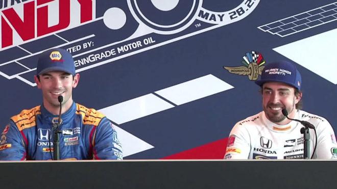 Alexander Rossi y Fernando Alonso, en la Indy 500.