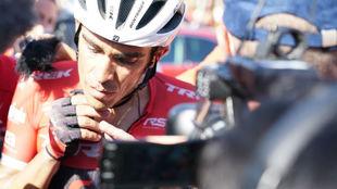 Alberto Contador tras la etapa de este jueves.
