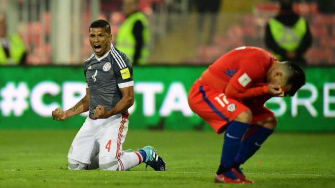 Ortíz celebra su gol a Chile.