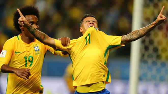 Coutinho celebra su gol a Ecuador.